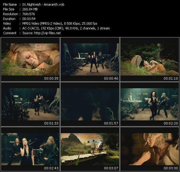 Artist Band Nightwish Title Of Video Amaranth Music Style Metal Album 20 Years Nuclear Blast Vol1 2007 Y